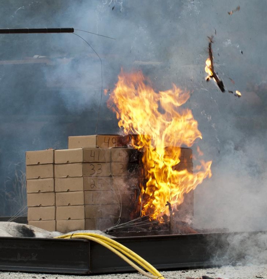 A test conducted by the Federal Aviation Administration to see if a single lithium ion battery would start a chain reaction with other of lithium ion batteries if it happened to explode. (DOT/FAA/TC-TN12/11)