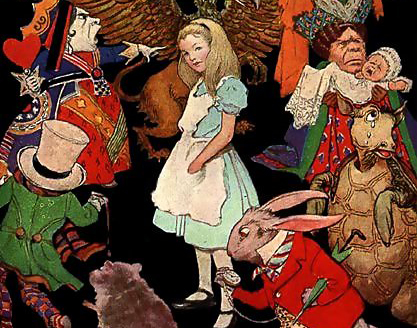 Jessie Willcox Smith's illustration of Alice surrounded by the characters of Wonderland (1923). (Public Domain/Wikimedia Commons)
