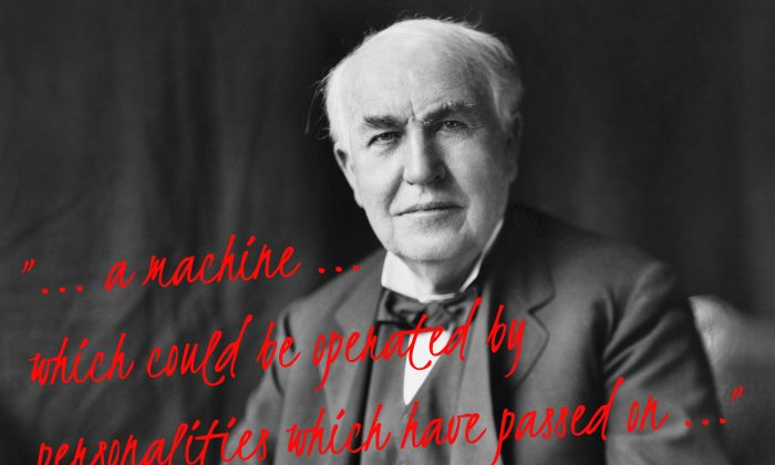 Thomas Edison spoke of working on a machine that could communicate with the dead. Did he impart his design after his own death? (Library of Congress; edited by Epoch Times)