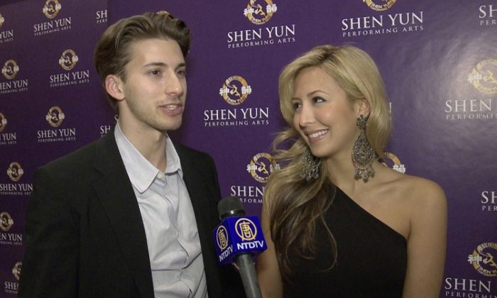 Classically trained singer Natascha Bessez and her companion Hunter Johansson enjoyed Shen Yun Performing Arts International Company at the Lincoln Center, April 21. (Courtesy of NTD Television)