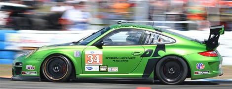 Damien Faulkner put the #34 Green Hornet Porsche on the pole in GTC. (James Fish/The Epoch Times)