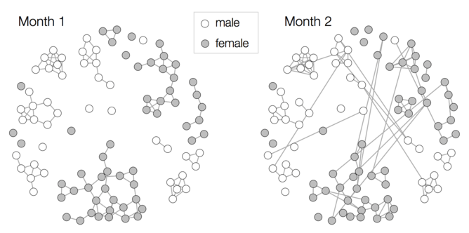Social contact patterns in a secondary school year group. Each point is a participant, and lines represent a mutually reported contact. (Data: London School of Hygiene & Tropical Medicine)