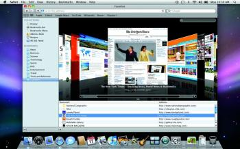 Safari 4 lets users view their bookmarked Web pages and full Web history in a format that is easy to use and navigate. (Courtesy of Apple)