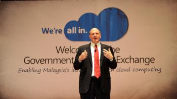 Microsoft Corp Chief Executive Officer Steve Ballmer gives a presentation in Malaysia's administrative capital Putrajaya on May 25, 2010. (Saeed Khan/AFP/Getty Images)