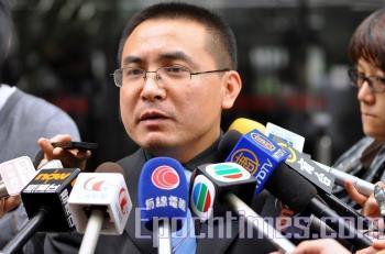 Chen Lu's attorney Peng Jian from Beijing. (Kuang Tianming/ The Epoch Times)