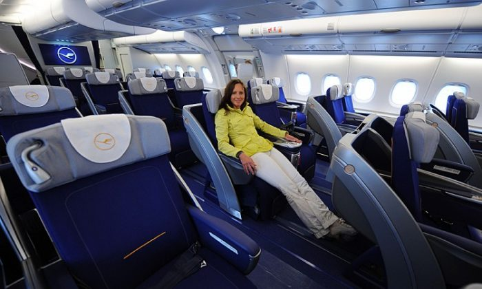 Dont we wish all airplane seats were this comfortable? A young woman poses in a business class seat of the new airplane Airbus A380 of the German airline Lufthansa after the test landing at the Franz-Josef-Strauss airport in Munich on June 2, 2010. (Christof Stache/AFP/Getty Images)