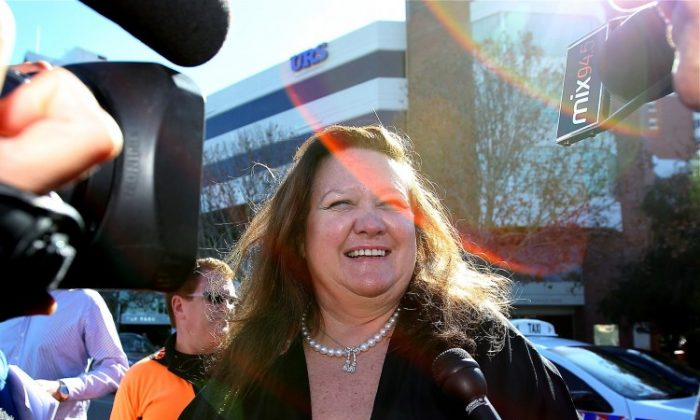 Gina Rinehart, chairperson of Hancock Prospecting joins protesters as they rally against the government's proposed mining tax in 2010, in Perth. (Paul Kane/Getty Images)