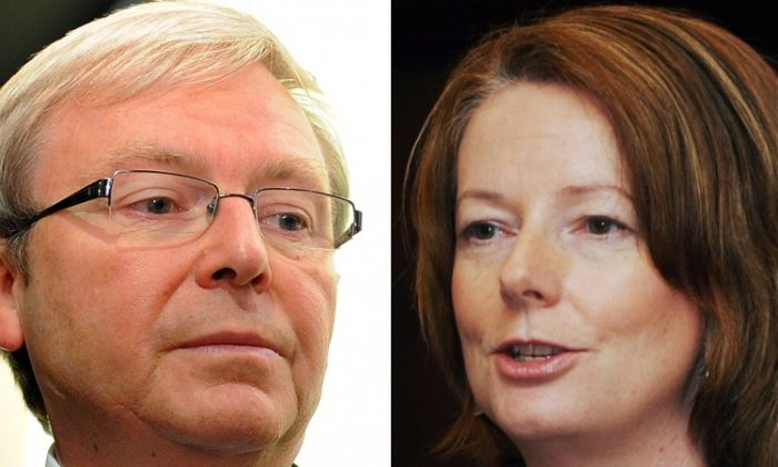 Senior Labor MPs are taking sides ahead of a vote, on Monday Feb. 27, to decide between the leadership of former prime minister Kevin Rudd (L, pictured in 2010) and Prime Minister Julia Gillard (R, pictured in 2009). (William West/AFP/Getty Images)