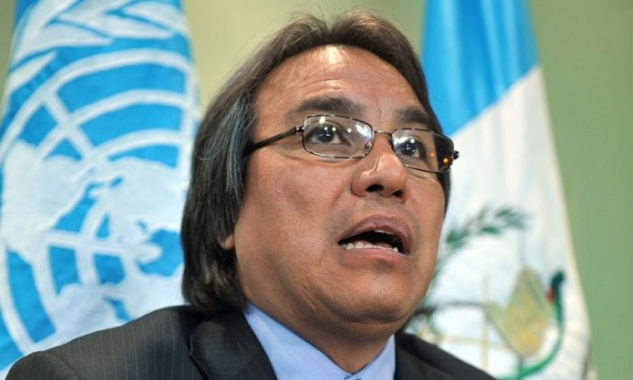 """United Nations Special Rapporteur on the Situation of Human Rights and Fundamental Freedoms of Indigenous Peoples, James Anaya during a press conference on June 18, 2010. Anaya recently called on federal and state lawmakers to """"adopt more robust measures"""" to address the serious issues affecting native peoples. (JOHAN ORDONEZ/AFP/Getty Images)"""