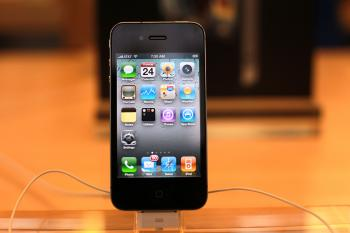 The new iPhone 4, which went on sale this morning, is displayed at the flagship Apple Store on Fifth Avenue on June 24, 2010 in New York City. (Spencer Platt/Getty Images)