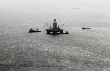 RETROSPECTIVE: Oil sheen is seen with vessels assisting near the source of the BP Deepwater Horizon oil spill on July 23, 2010 in the Gulf of Mexico. For years to come, 2010 will be known as the year of the Gulf oil spill, an environmental and economic disaster impacting almost every industry. (Mario Tama/Getty Images)