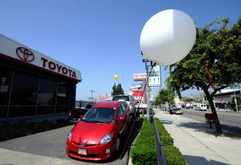 Toyota Prius hybrid cars are displayed at the Toyota of Hollywood dealership on August 4, 2010 in Hollywood, California.(Kevork Djansezian/Getty Images)