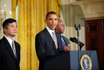 US President Barack Obama speaks before singing the Manufacturing Enhancement Act of 2010 on Aug. 11, 2010. (Jewel Samad/AFP/Getty Images)