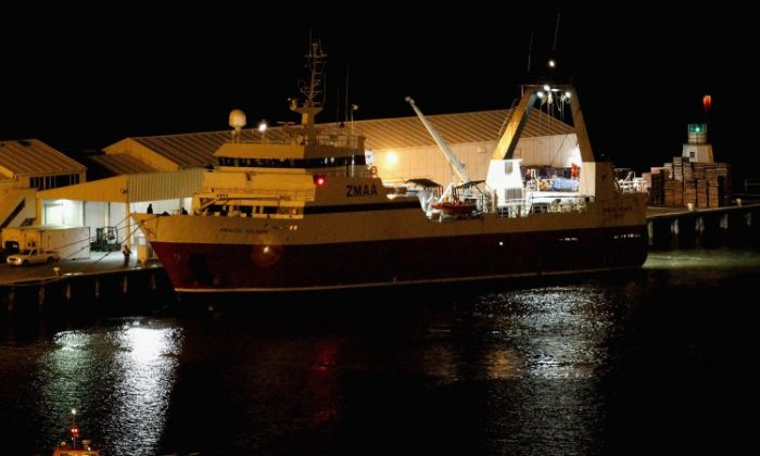 The Amaltal Atlantis carrying survivors from the sunken Oyang 70 fishing trawler arrives in Lyttlton on Aug. 20, 2010 in Christchurch. (Martin Hunter/Getty Images)