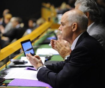 Greek Prime Minister George Papandreou attends the Millennium Development Goals Summit at the United Nations headquarters in New York, September 20. Nearly 140 world leaders will attend the three-day summit on ending global poverty, hunger and disease within the next five years.(Emmanuel Dunand/Getty Images )