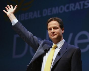 Deputy Prime Minister Nick Clegg, delivers a keynote speech at the first Liberal Democrat conference since the party formed a coalition government with the Conservative party in the ACC Liverpool conference centre on September 20, in England.  (Jeff J Mitchell/Getty Images)