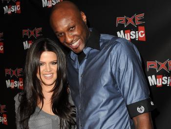 Khloe Kardashian (L) and Los Angeles Lakers forward Lamar Odom (Michael Buckner/Getty Images)