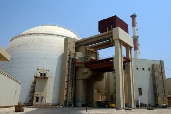 The Bushehr nuclear power plant in southern Iran. The plant was infected by the Stuxnet computer virus, the first cyber weapons, which infected the IP addresses of more than 30,000 computer systems inside the plant. (Atta Kenare/Getty Images)