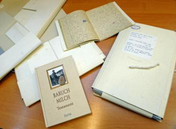 The diary of Holocaust survivor Baruch Milch on display at the Jewish Historical Institute in Warsaw. (Janek Skarzynski/AFP/Getty Images)