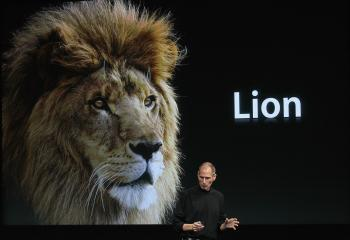 Apple CEO Steve Jobs announces the new OSX Lion operating system as he speaks during an Apple special event at the company's headquarters on Oct. 20, 2010 in Cupertino, California. (Justin Sullivan/Getty Images)