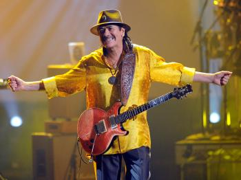 Carlos Santana performs onstage during the 2010 American Music Awards held at Nokia Theatre L.A. Live on November 21, 2010 in Los Angeles, California. (Kevork Djansezian/Getty Images)