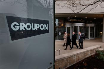 A sign marks the location of the Groupon headquarters in Chicago, Illinois. (Scott Olson/Getty Images)