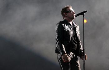 Bono of U2 performs on stage at Etihad Stadium on December 1, 2010 in Melbourne, Australia.  (Mark Metcalfe/Getty Images)