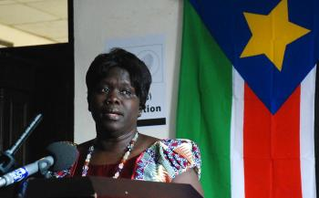 Anne Itto, deputy secretary general of the southern branch of the Sudan Peoples' Liberation Movement (SPLM), speaks during a press conference in the southern capital Juba on December 11, 2010.