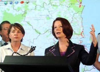 Brisbane floods: Queensland Premier Anna Bligh (L) and Prime Minister Julia Gillard (R) at a media conference on Jan. 12, 2011 in Brisbane, Australia. (Bradley Kanaris/Getty Images)