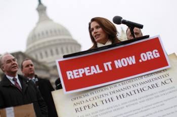 Michele Bachmann (R-MN) speaks at a news conference where Republican members of the House demand the repeal of health care legislation January 18, in Washington, DC. The House voted 245-189 for HR 2, Repealing the Job-Killing Health Care Law.  (Win McNamee/Getty Images)
