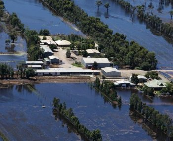 An farm house inundated by flood waters on Jan. 19, 2011 in Kerang, Australia. Evacuations have been ordered in several western and north-western Victorian towns as they brace for the worst flooding in over 200 years. (Lisa Maree Williams/Getty Images)