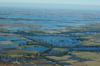 An aerial view of flood water inundating the Wimmera and Southern Mallee region on Jan. 19, 2011 in Victoria, Australia. (Lisa Maree Williams/Getty Images)