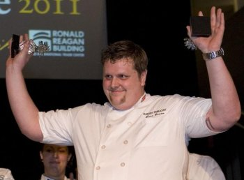 THE WINNER: Lars Beese, the chef from the Royal Danish Embassy, wins both Judge's Choice Award and People's Choice Award at the 'Embassy Chef Challenge 2011' on April 12. (Lisa Fan/The Epoch Times)
