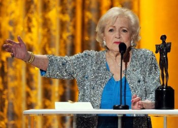 Betty White, winner of Outstanding Performance by a Female Actor in a Comedy Series award for 'Hot in Cleveland,' speaks onstage during the 17th Annual Screen Actors Guild Awards held at The Shrine Auditorium on January 30, 2011 in Los Angeles, California (Kevin Winter/Getty Images)