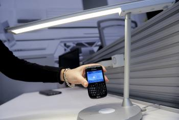 CHARGE: A wireless lamp charger by Powermat is displayed at the 3GSM World congress on Feb. 17 in Barcelona. (Josep Lago/AFP/Getty Images)