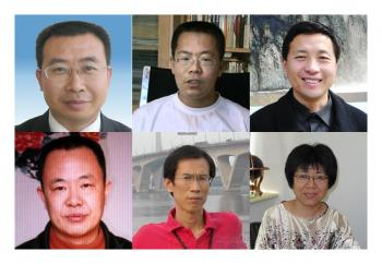 Human rights lawyers and activists and dissidents arrested by Chinese police. Top row from left: Jiang Tianyong, Teng Biao, Tang Jitian. Bottom row from left: Zhang Lin, Liu Shihui, Li Tiantian.  (The Epoch Times photo archive)