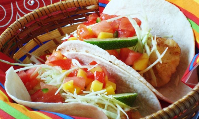 Deep fried ling cod tacos with tomato and mango salsa. (Sandra Shields/The Epoch Times)