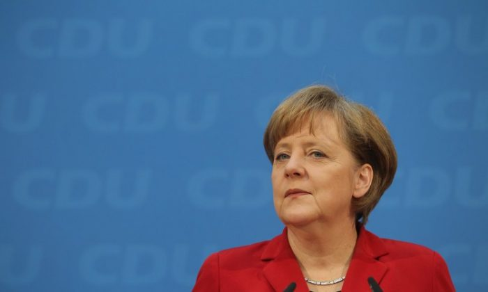 German Chancellor and leader of the CDU Angela Merkel speaks to the media the day after elections in Baden-Wuerttemberg and Rhineland-Palatinate on March 28, 2011 in Berlin, Germany. (Sean Gallup/Getty Images)