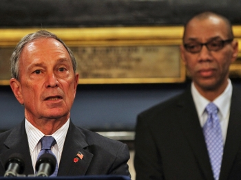 New York City Mayor Michael Bloomberg (L) speaks while introducing Dennis Walcott, his current deputy mayor for education, as the new Schools Chancellor for New York City following the departure of the controversial Cathleen Black on April 7, 2011 in New  York City. (Spencer Platt/Getty Images)