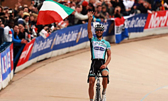 Tom Boonen Omega Pharma-Quick Step attacked alone 53 km from the finish line and no one had the legs to catch him. (Bryn Lennon/Getty Images)
