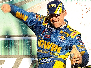 Jamie McMurray, driver of the #26 IRWIN Marathon Ford, celebrates in victory lane after winning the NASCAR Sprint Cup Series AMP Energy 500 at Talladega Superspeedway on November 1, 2009 in Talladega, Alabama. (John Harrelson/Getty Images for NASCAR)