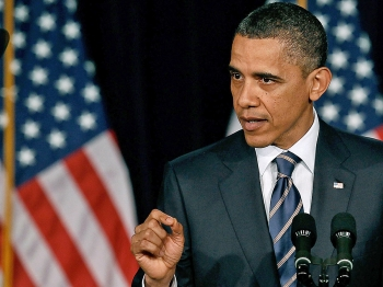 President Barack Obama speaks about fiscal policy at George Washington University in Washington, DC. He laid out his plan for deficit and debt reduction. (Mark Wilson/Getty Images)