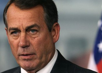 Speaker of the House John Boehner (R-OH) participates in a news conference at the U.S. Capitol on April 14, in Washington. Speaker Boehner spoke about the vote later on the Continuing Resolution to fund the government another year.  (Mark Wilson/Getty Images)