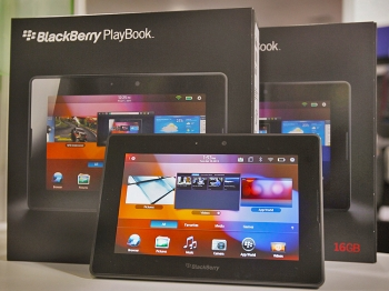 Blackberry Playbook tablets are offered for sale at a Best Buy store on April 19, in Chicago, Illinois. The tablets, made by Research In Motion, went on sale Tuesday in the United States and Canada.  (Scott Olson/Getty Images)
