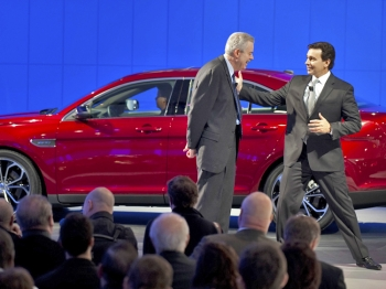 Ford introduce a Taurus April 20 during the New York Auto show in New York. Auto makers from around the world gathered to introduce their latest models. (Don Emmert/AFP/Getty Images)