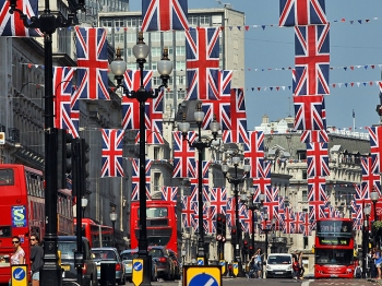 British Union Jack flags hang along Regent Street in London, on April 25, 2011. Britain's Prince William is to marry his fiancee Kate Middleton at Westminster Abbey in London on April 29, 2011.  (Adrian Dennis/AFP/Getty Images)