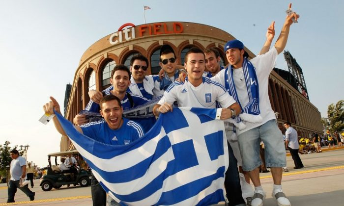 Greek fans support their team prior to the soccer match against Ecuador on June 7, 2011 at Citi Field Flushing, Queens. (Mike Stobe/Getty Images)