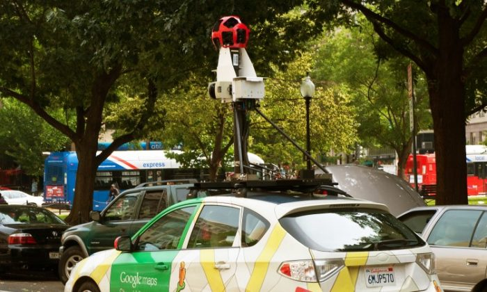 The Google street view mapping and camera car is seen as it charts the streets of Washington, DC. (2011/Paul J. Richards/AFP/Getty Images)