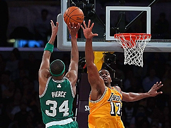 TOUGH SHOT: Paul Pierce found his mark against the Los Angeles Lakers on Sunday afternoon with 32 points to help quiet Kobe Bryant's 41 points. (Jeff Gross/Getty Images)