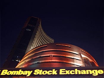 The Bombay Stock Exchange (BSE) building is illuminated during the special trading session on the occasion of Diwali, the Festival of Lights on October 28, 2008.    (Sajjad Hussain/AFP/Getty Images)